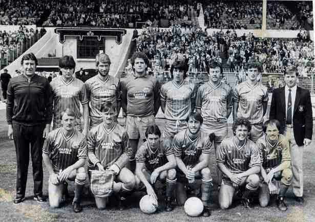 Bangor C. 1 Northwich V. 1 in May 1984 at Wembley. Bangor City team group before kick off in the FA Trophy Final.