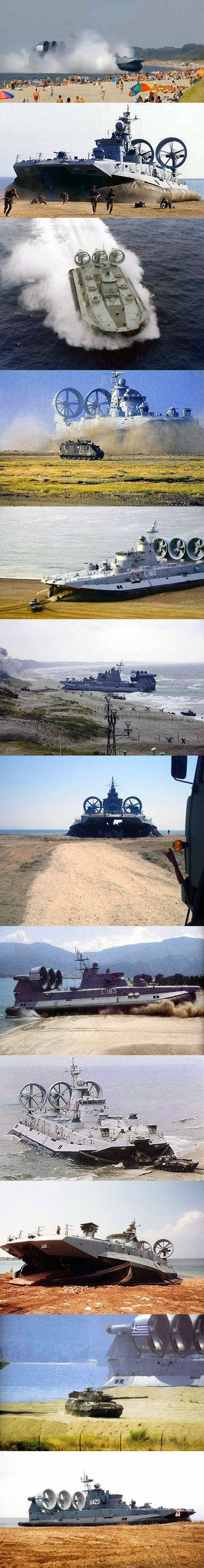 The Zubr-class is a class of air-cushioned landing craft of Soviet design. This class of military hovercraft is, as of 2012, the world's largest hovercraft. It is designed to sealift landing assault units (such as marines or tanks) from equipped/non-equipped vessels to non-equipped shore, as well as transport and plant mines.