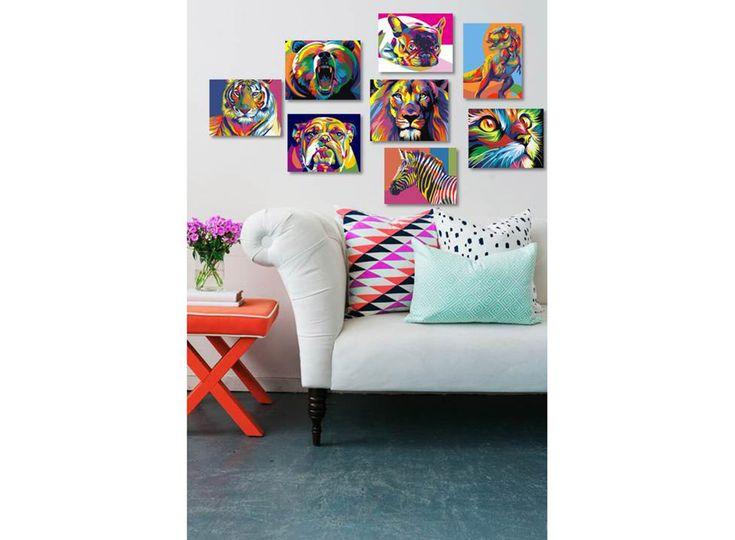 Картина по номерам, картина-раскраска по номерам, раскраска по номерам, paint by numbers, купить картину по номерам - Радужная зебра (мини-формат) - Zvetnoe.ru - картины по номерам, алмазная мозаика