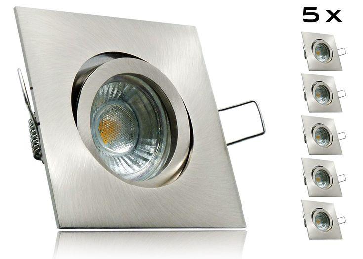 LED Set Einbaustrahler GU10 Spot dimmbar Alu Rahmen Decke Lampen Einbaulampe