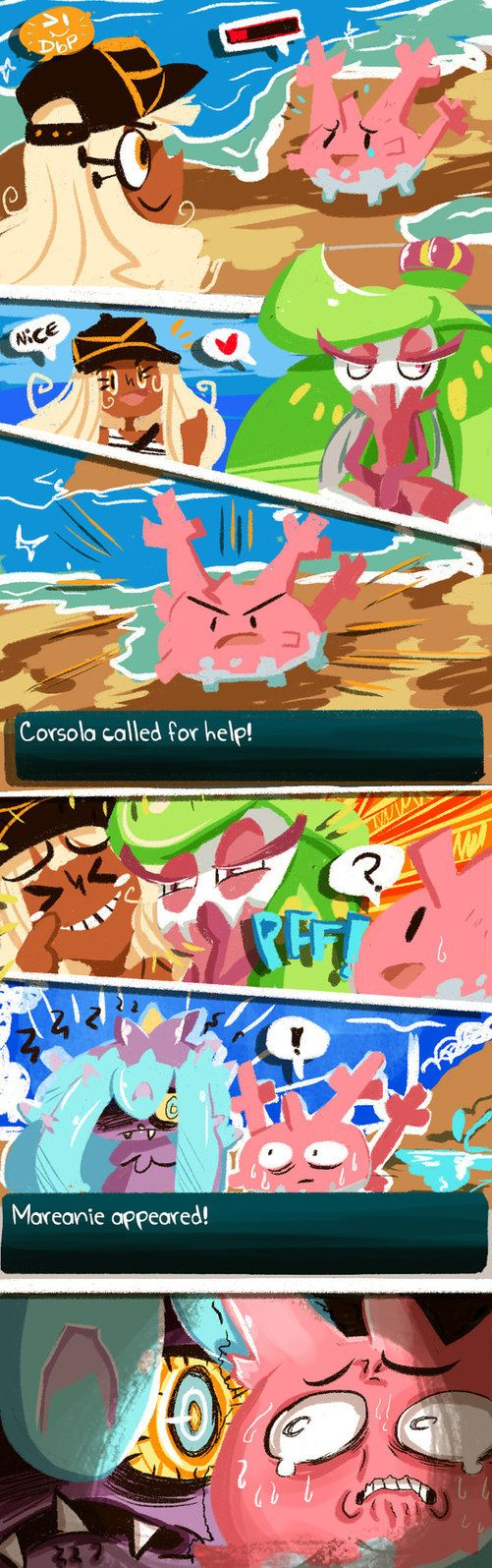 """It's found crawling on beaches and sea floors. the coral that grows on Corsola's head is as good as a five-star banquet to this Pokémon"" - Mareanie's Pokédex entry"