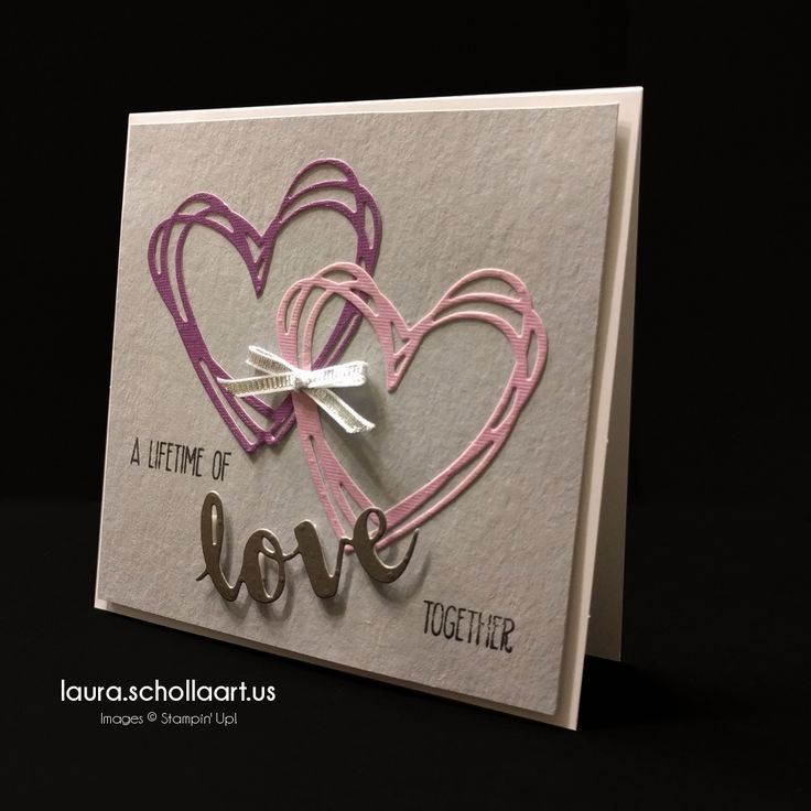 handmade wedding card die cut hearts