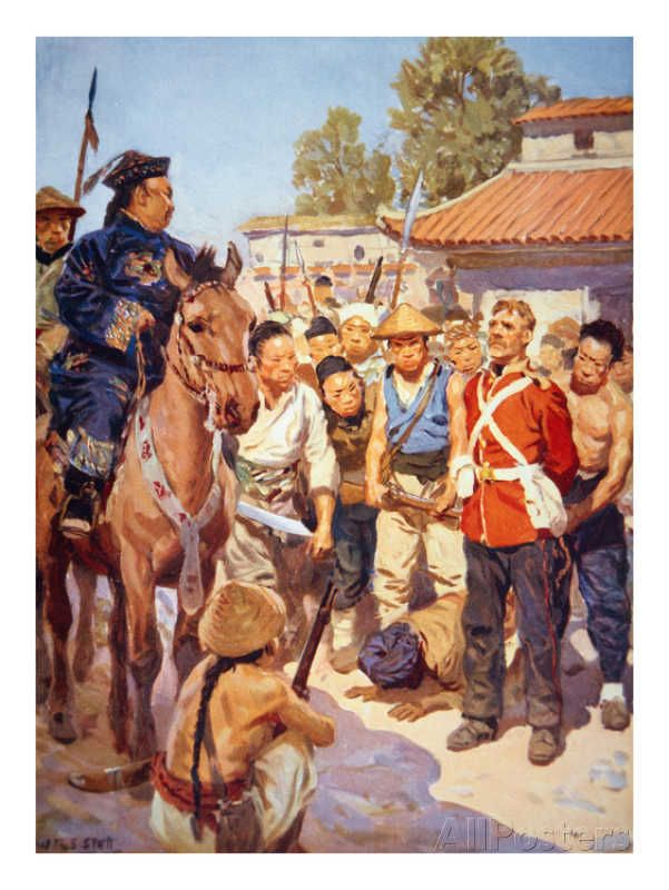 by W. R. S Scott - Rebels Capture a British Soldier During the Taiping Rebellion in China (W/C on Paper) Giclee Print