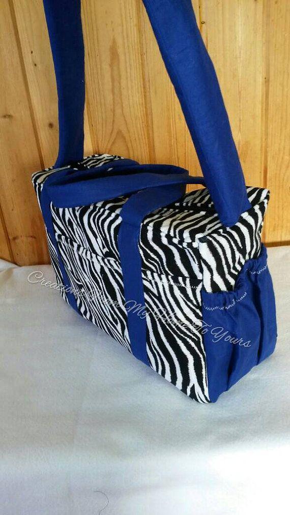 Large blue Zebra diaper bag/overnight bag by NanasClosetCreations