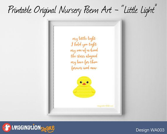 Original Nursery Poem Rubber Ducky Wall Art by ImaginationShake