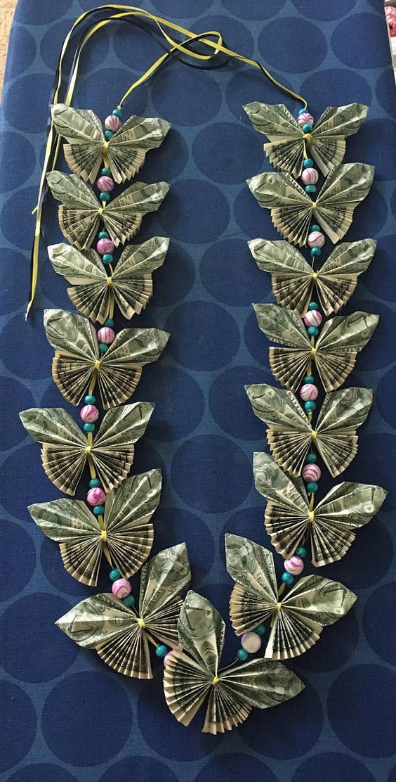 Butterfly money lei with beads