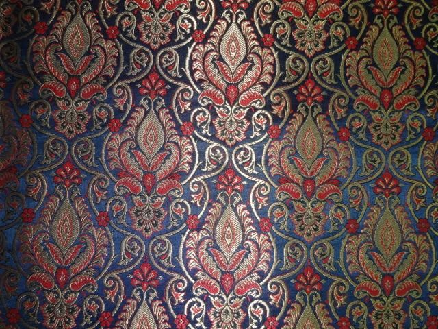 BROCADE FABRIC ROYAL BLUE,RED X METALLIC GOLD