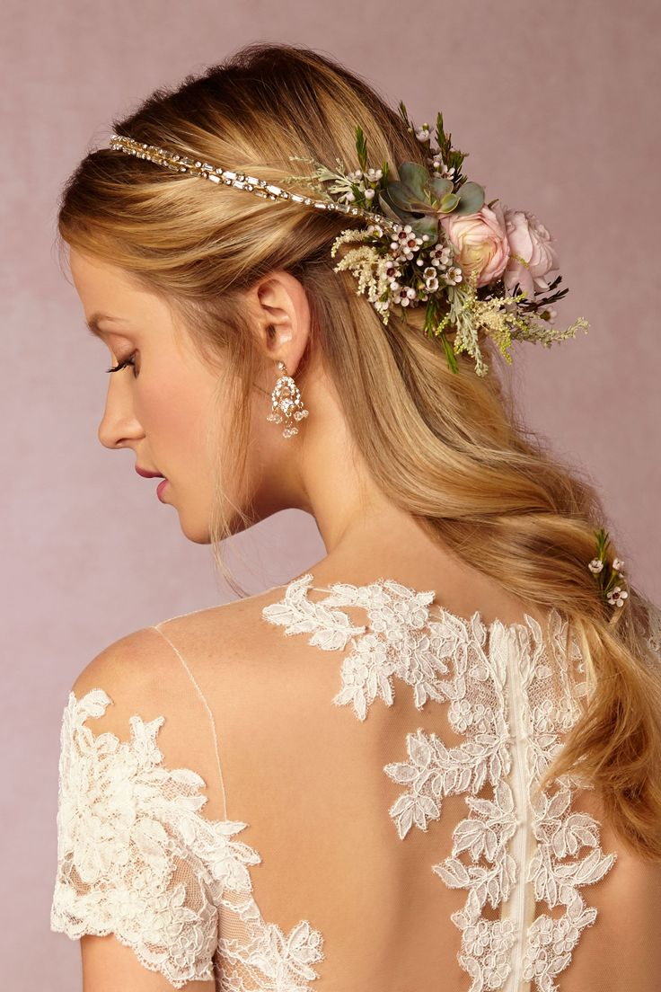 delicate crystals adorn the front of this minimal halo, with satin along the back. Making this the perfect base for a bridal flower crown. | Gilt Wire Wreath from BHLDN