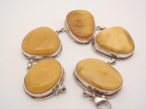 Obecnie na aukcjach #Catawiki: Silver 925 bracelet set with Baltic Amber pieces, 66,8 gr