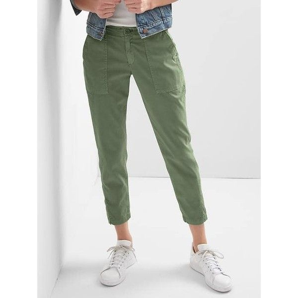 Gap Women Girlfriend Utility Chinos ($40) ❤ liked on Polyvore featuring pants, jungle green, petite, zip pants, gap trousers, chino trousers, gap pants and chinos pants