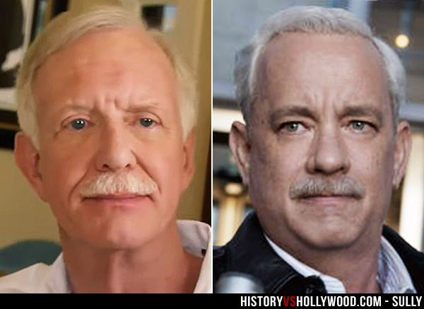 """Captain Chesley """"Sully"""" Sullenberger and his onscreen counterpart, Tom Hanks. See more pics of the real people behind the Sully movie characters: http://www.historyvshollywood.com/reelfaces/sully/"""