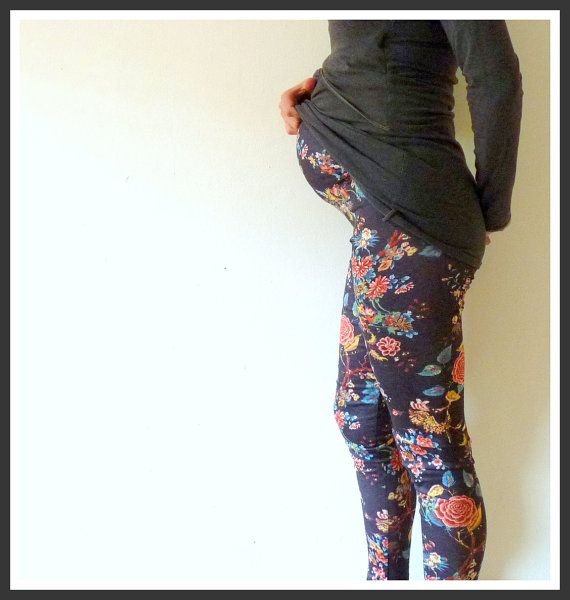 Flowers Maternity Leggings maternity pants by RoundBellies on Etsy