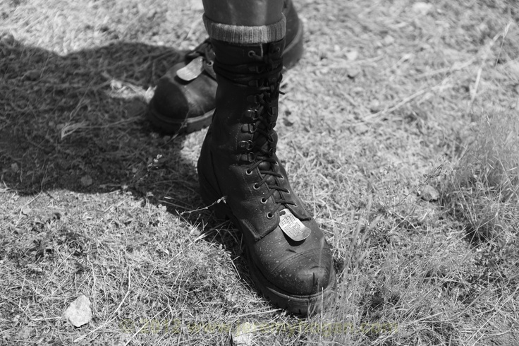 Combat boots. Porterville, CA. 2012. Dad still wears combat boots. I remember as a kid he had his work boots. Of course I wanted to be like my dad so I soon had my own boots. I don't wear boots much any more but by dad does along with his dog tags just like he wore them in Nam in case that was the only part of his body they found after a helicopter crash. Last summer we found him two new pairs at a military surplus store in Indiana. These boots aren't so easy to find anymore.