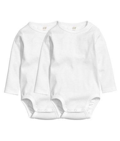 2-pak langærmede bodyer   Hvid   Børn   H&M DK