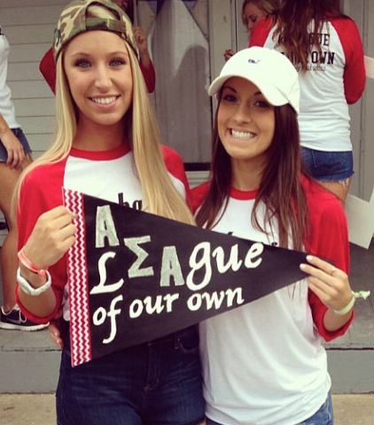 A League of our Own #AlphaSigmaAlpha  Cute for bid day, big little, or intramurals.