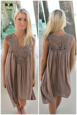 f7b0b8a7d2357 Details about US Plus Size Lady Boho Sleeveless Party Tops Women Loose  Summer Beach Lace Dress in 2019 | clothes | Dresses, Lace summer dresses,  ...