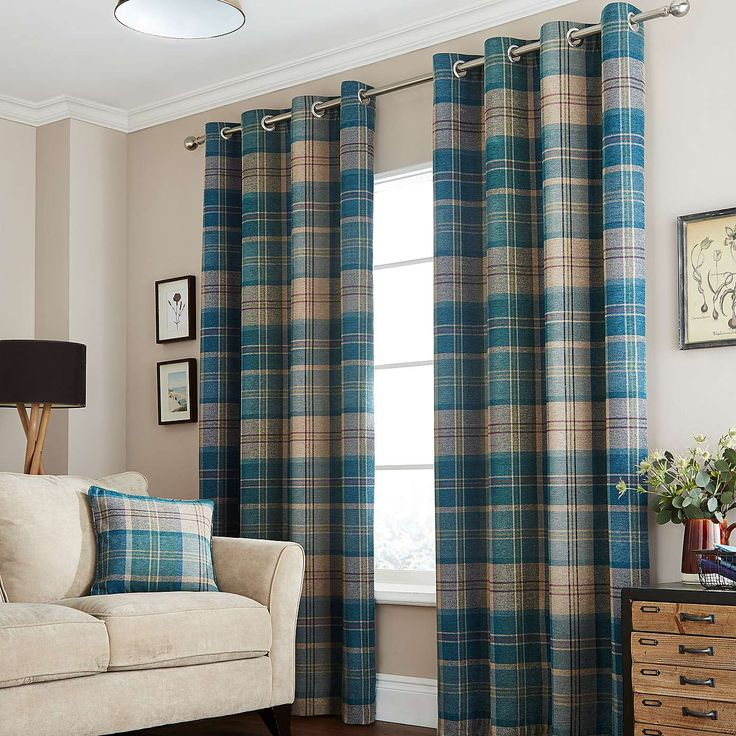 Teal Hamish Lined Eyelet Curtains