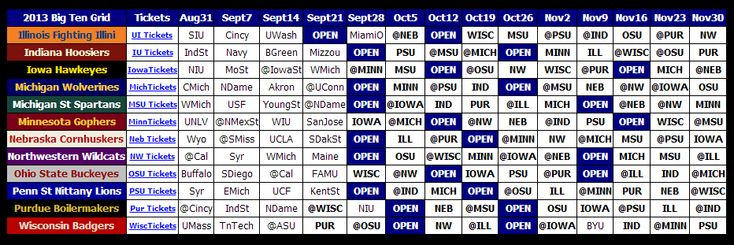 Big Ten Football Schedule 2013 | Print 2013 Big Ten Football Schedule - Big Ten Football Online