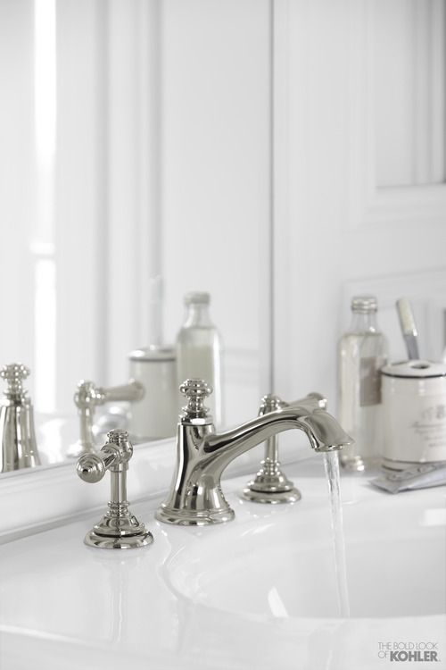 Artifacts lets you personalize your faucets for a look that's all your own.Faucets are shown here with the Bancroft pedestal sink and Vintage tub. Available at Green Art! #FindArtifacts