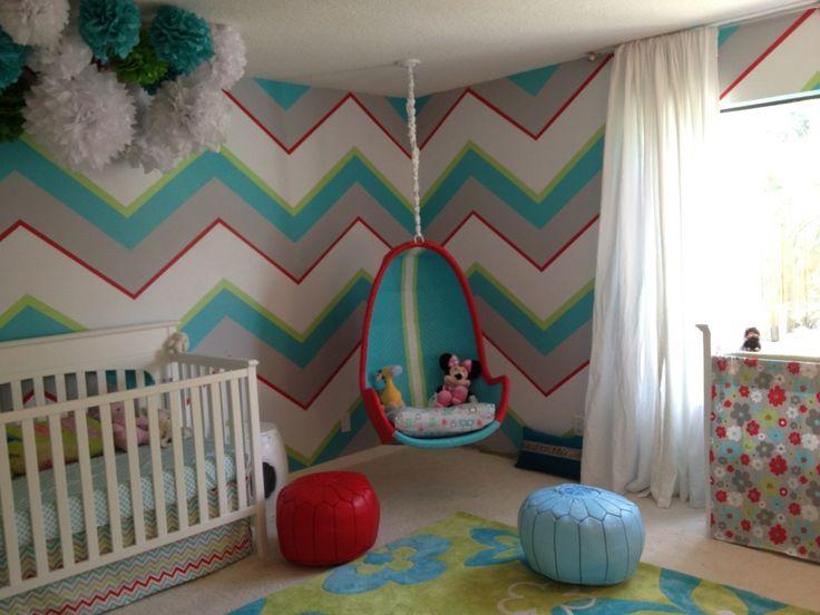 Hipster Nursery | Love the wall