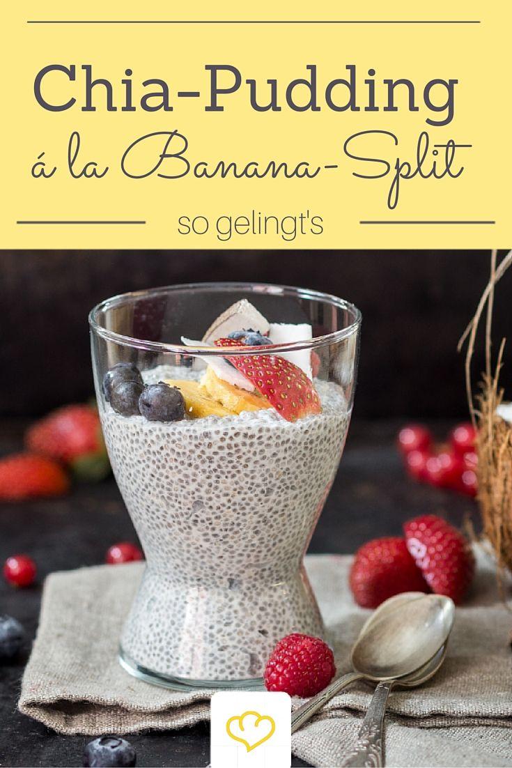 Auf dieses köstliche Frühstück freut man sich schon beim Zubettgehen: Overnight Chia-Pudding mit Joghurt, Banane und Schokodrops. Ein gesundes Banana-Split sozusagen.