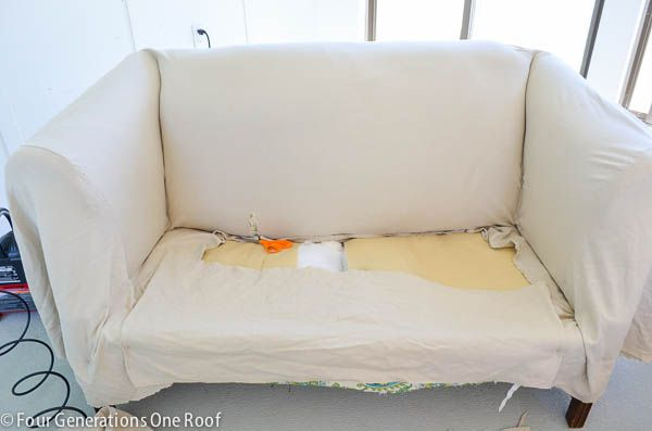 how to reupholster a couch-/ no sew