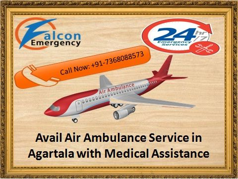Falcon Emergency provides emergency air ambulance service in Agartala for serious patient and also provides medical facility with advanced doctor facility anytime available in Agartala. It is most reliable and dedicated service of India. Read More: - http://www.falconemergency.com/air-ambulance-services-from-agartala/