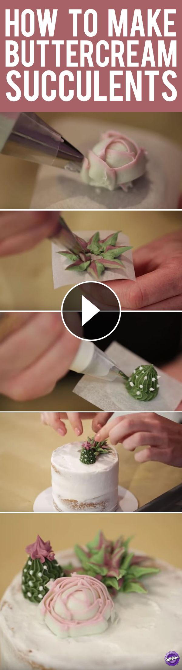 How to Make Buttercream Succulents - Learn how-to make 3 types of succulents in buttercream icing. Great for tea parties, birthdays, bridal showers and weddings, these stunning mini cakes are a great way to showcase your decorating skills. Mix and match succulent styles and colors to create the edible garden of your dreams!
