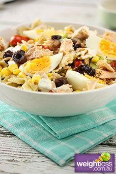 Spanish Tuna Pasta Salad Recipe #HealthyRecipes #DietRecipes #WeightlossRecipes weightloss.com.au