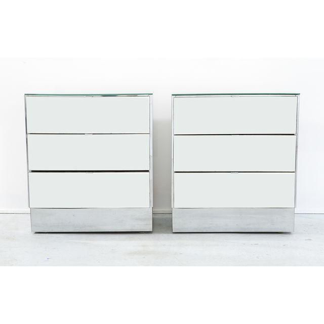Image Of Mirrored Glass Nightstands   A Pair