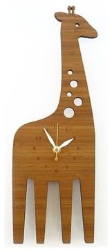 Decoylab Modern Animal Giraffe Clock - modern - kids decor - portland - fawn