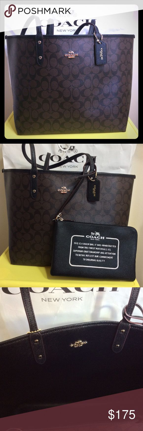 Coach Signature Large Brown Reversible Tote Bag 100% Authentic. Brand new with tag. Reversible It can be a Signature brown logo and Black Bag. Comes with Pochette. Coach Bags Totes
