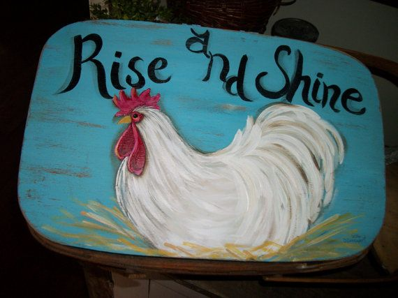 farmhouse rooster picnic basket vintage by CottageDesignStudio