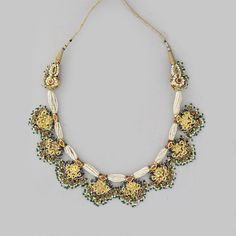 A GEMSET GOLD AND ENAMEL NECKLACE -  INDIA, 19TH CENTURY