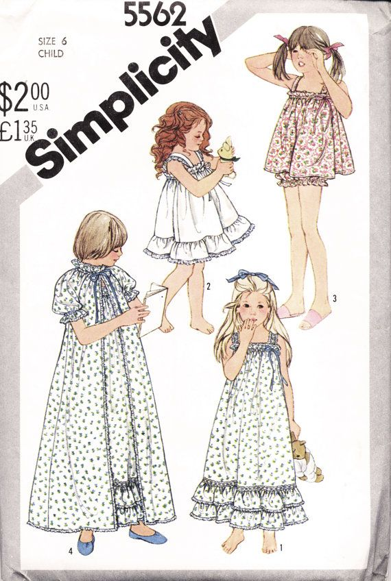 1980s Girls' Nightgown, Robe & Baby Dolls Pattern - Size 6 - Retro Sewing Pattern - Simplicity 5562