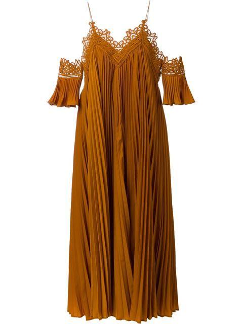 SELF-PORTRAIT Pleated Off Shoulder Dress. #self-portrait #cloth #dress