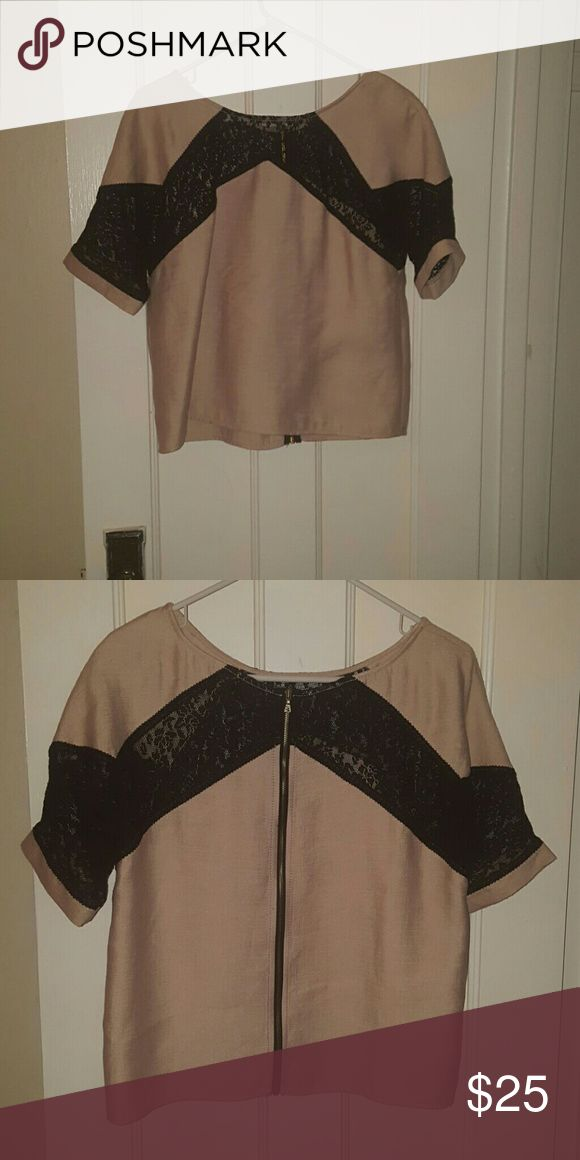 Black lace and beige top Worn once. Perfect condition. Comes just to the top of the hip I'm (5'5 for reference). Slight shimmer in the beige. Rachel Roy Tops