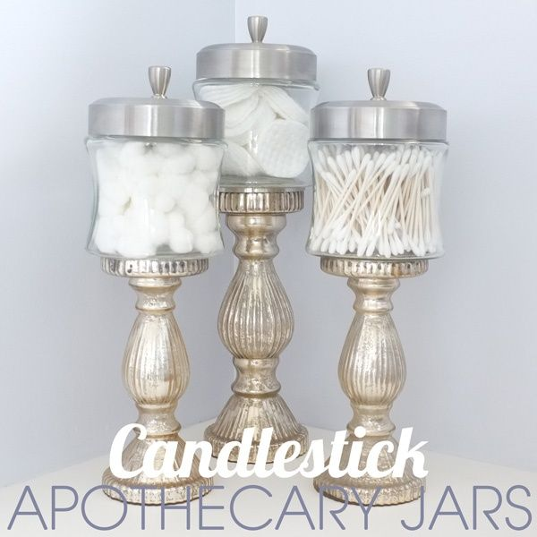 {DIY Mercury Glass Candlestick Apothecary Jars} Glamourous bathroom storage