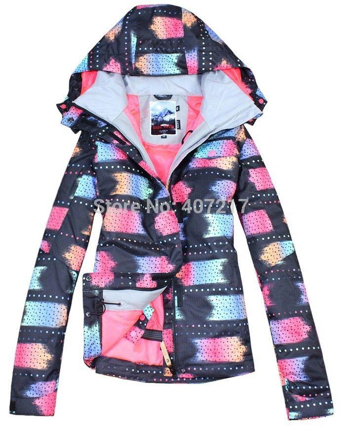 2014 new womens rainbow ski jacket ladies snowboarding jackets black skiing jacket for women anorak skiwear waterproof 10K XS-L
