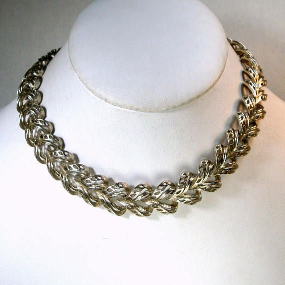 LISNER Silver CHOKER Necklace and Clip Earrings Signed SET