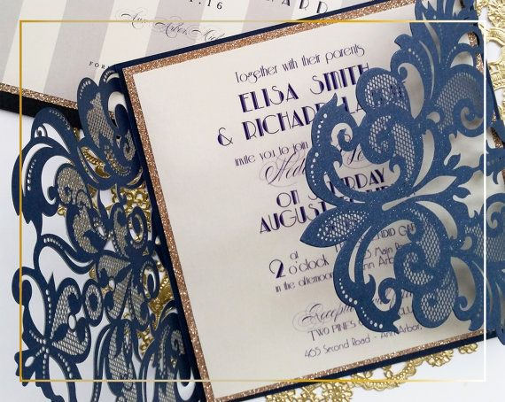 Laser cut wedding invitations Blue Lace by DesignedWithAmore