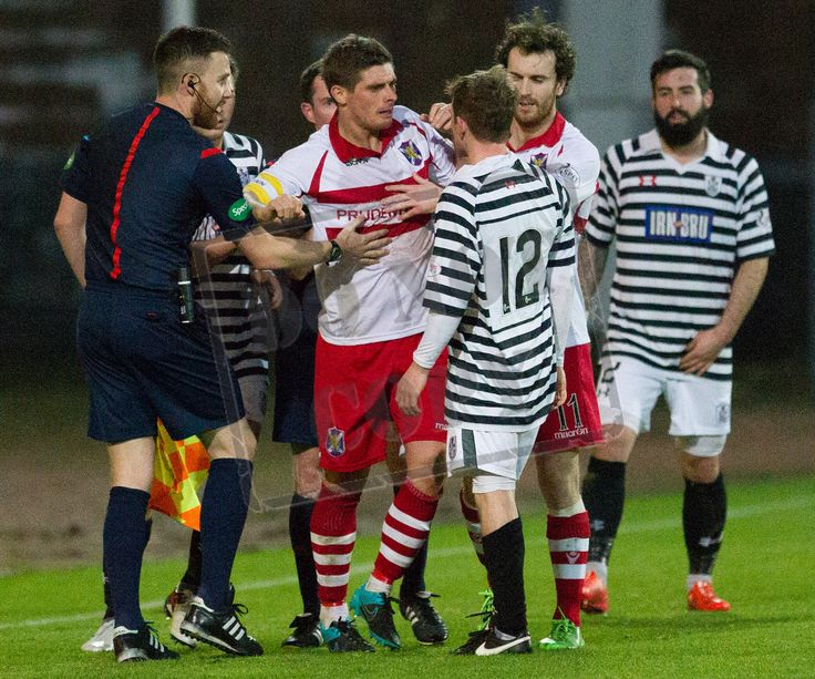 Queen's Park's Joe Bradley and Stirling Albion's Ross Forsyth square up during the SPFL League Two game between Stirling Albion and Queen's Park.