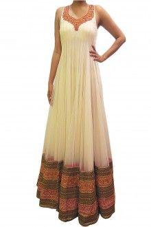 Bubber Couture Off-White Floor Length Anarakali - www.scarletbindi.com