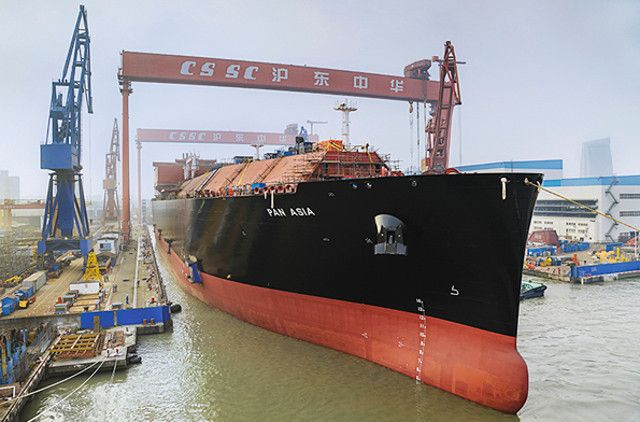 China's biggest LNG carrier launched in Shanghai 20 April.  290 m long, 45m wide, 26m deep.