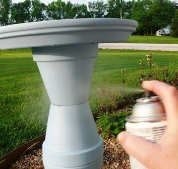 Homemade Bird Bath Ideas | Once all the glue is dry spray the whole thing with asealer. This will ...