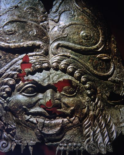 Scythians in the Ukraine adopted the Gorgon on their armor and coins. They lived in the Black Sea region that Greek tradition said had historically been the land of Amazons.