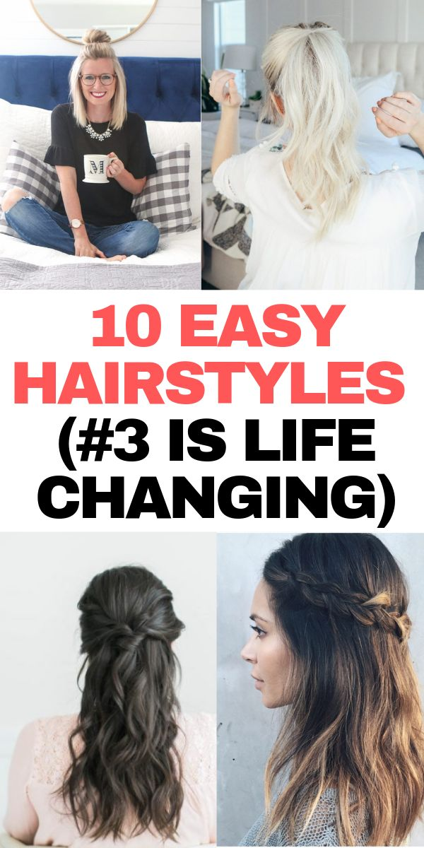 10 quick hairstyles that are so easy!  These are hairstyles are perfect for work, school, or just lazy days when you need to look your best.