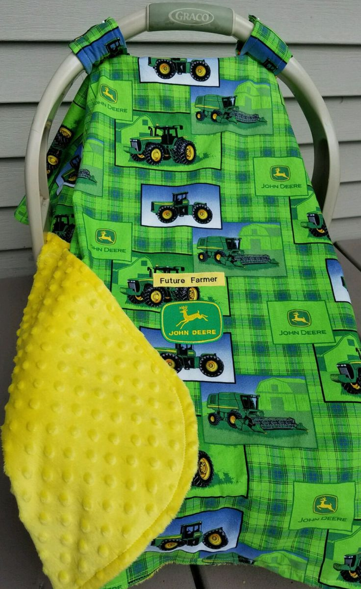 """John Deere Tractor Canopy Baby! 100% Cotton & Yellow Minky n Patch Hand Made Custom Embroidery """"Future Farmer"""" Infant CarSeat Carrier Cover by mamasgotmecovered on Etsy"""