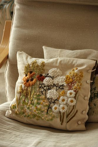 crewel embroidery pillow by mellow_stuff, via Flickr