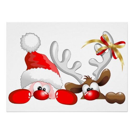 _santa_and_reindeer_cartoon_poster-228858180797904229